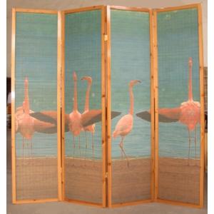 "Ширма ""Розовые фламинго у озера"", бамбук, 4 створки"